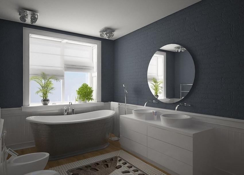 Дизайн ванной комнаты в серо-белом цвете